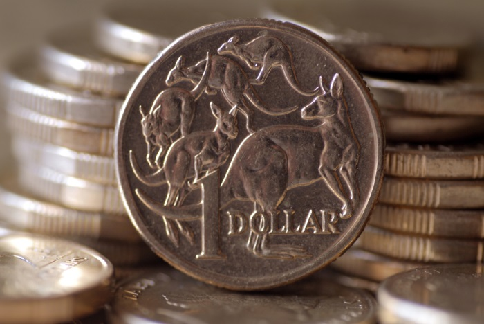 Australia dollar coin up close in focus