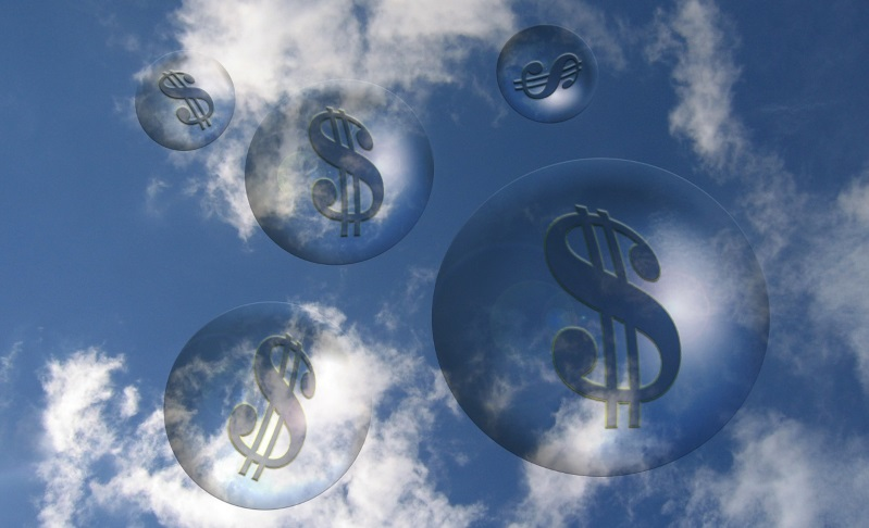 Bubbles with dollar signs in the clouds