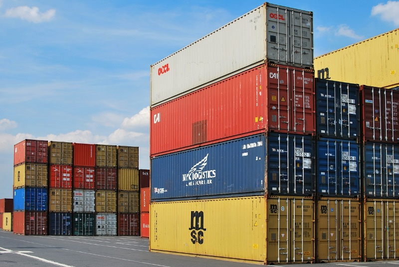Dock with shipping containers