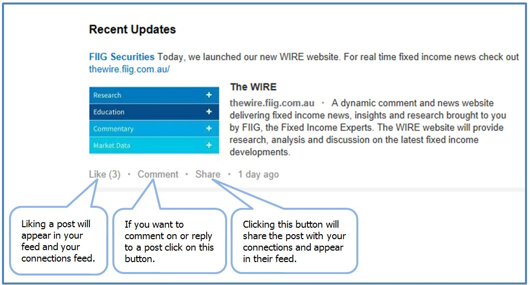 LinkedIn basic functions like comment share