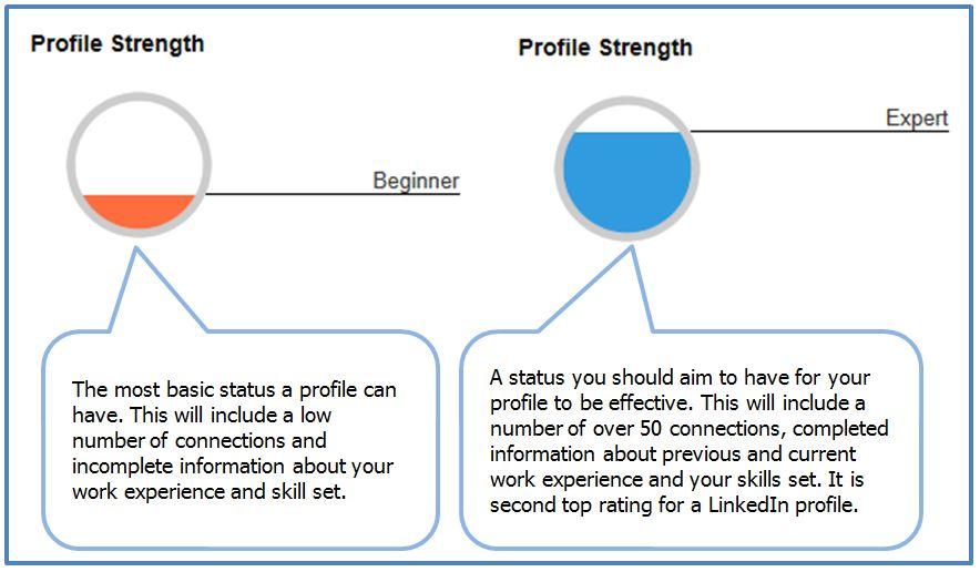 LinkedIn profile strength beginner and expert