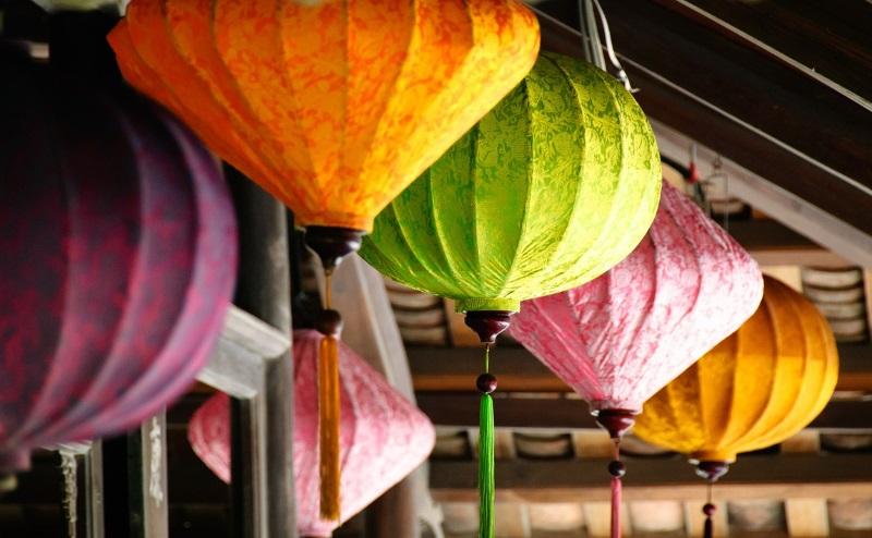 multi coloured lanterns