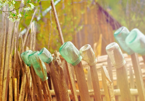 glass bottles on fence