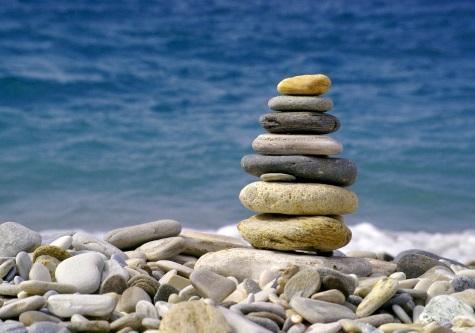 rock pile on beach